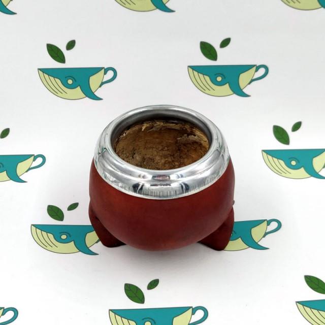 Калабас из тыквы с окантовкой в коже коричневый